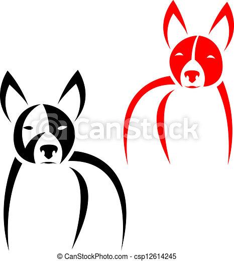 矢量, 形象, 狗, 白色, 背景