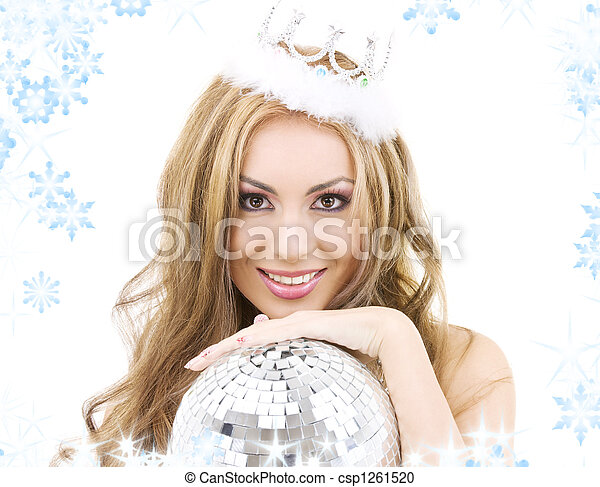 lovely fairy in crown with disco ball - csp1261520