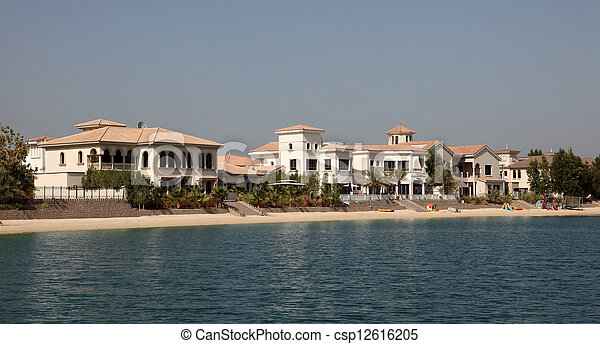 Residential buildings on Palm Jumeirah, Dubai, United Arab Emirates - csp12616205