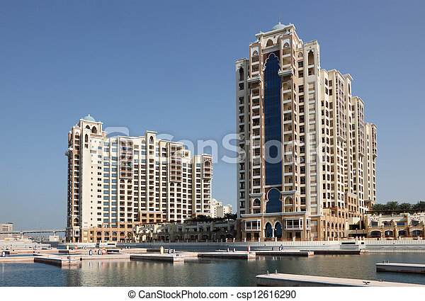 Highrise residential buildings on Palm Jumeirah, Dubai, United Arab Emirates - csp12616290