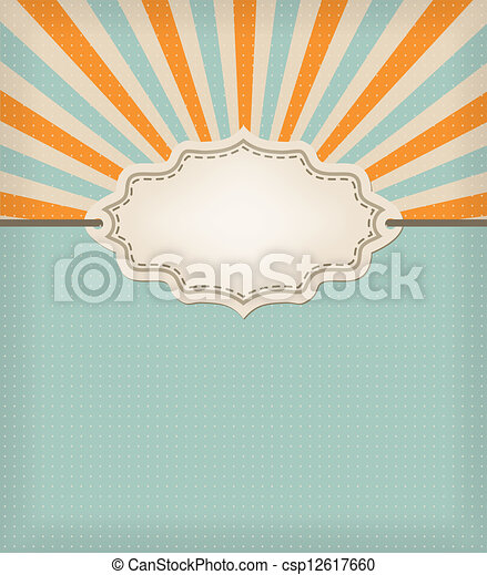retro blue background with texture and frame - csp12617660