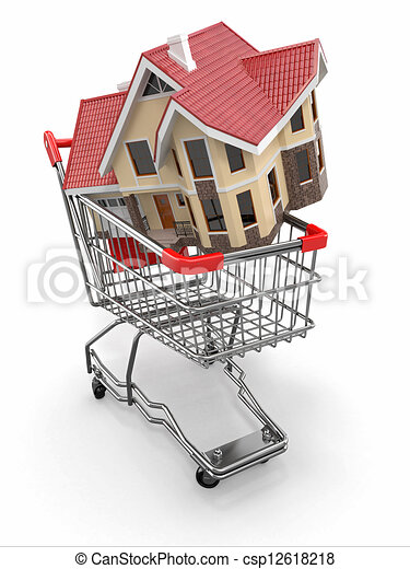 Clipart of property market house in shopping cart 3d for Online shopping for the home