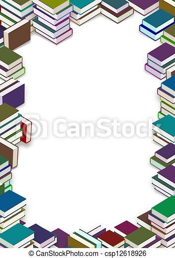 clip art de livre cadre cadre fait de beaucoup livres csp12618926 recherchez des. Black Bedroom Furniture Sets. Home Design Ideas