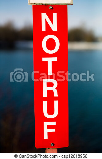emergency sign with lettering - csp12618956
