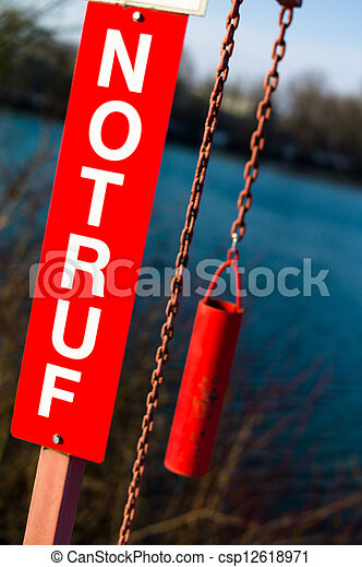 emergency sign with lettering - csp12618971