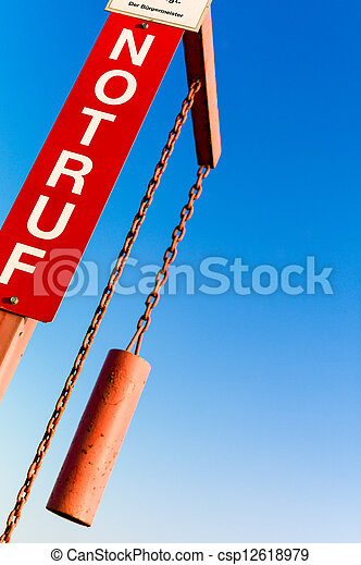 emergency sign with lettering - csp12618979