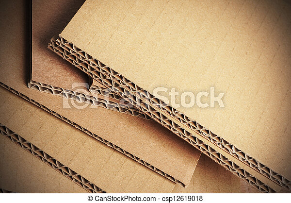 Corrugated Cardboard Background, Carton Detail - csp12619018