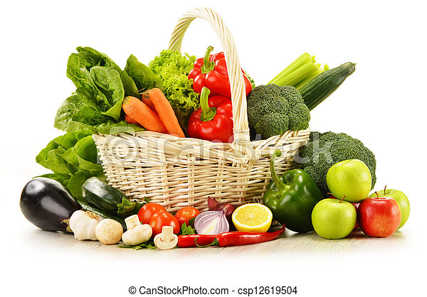 raw vegetables in wicker basket isolated on white - csp12619504