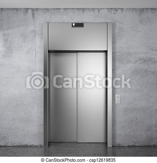 Closed Door Drawing drawings of modern elevator with closed doors - front view of
