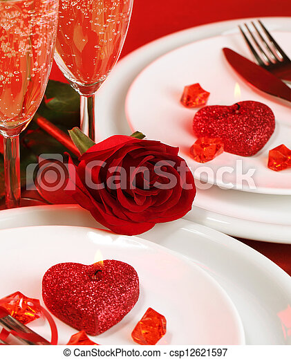 Valentine day table setting - csp12621597