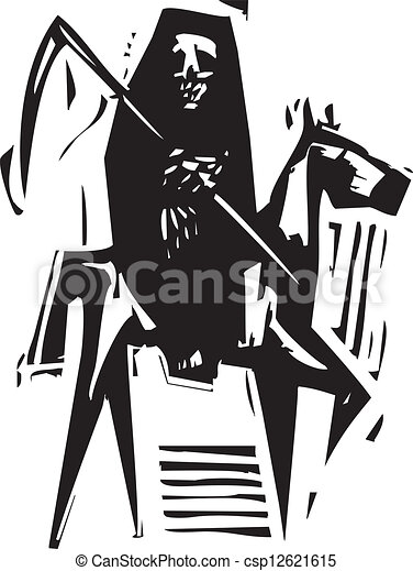 Vector Clip Art of Death and Horse - Woodcut expressionist style ...