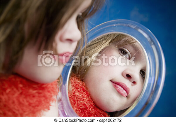 Little Girl Looking a Mirror - csp1262172