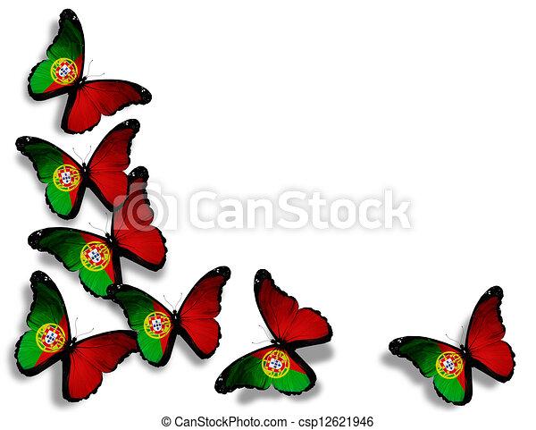 Illustration portugais drapeau papillons isol blanc - Dessin du portugal ...