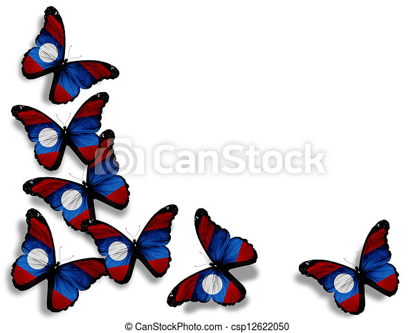 Laotian flag butterflies, isolated on white background - csp12622050