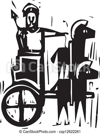Clip Art Vector of Chariot - Woodcut expressionist style image a ...