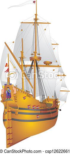 Clip Art Vector of Flutes Derflinger - Picture an old sailing ship, flute... csp12622661 ...
