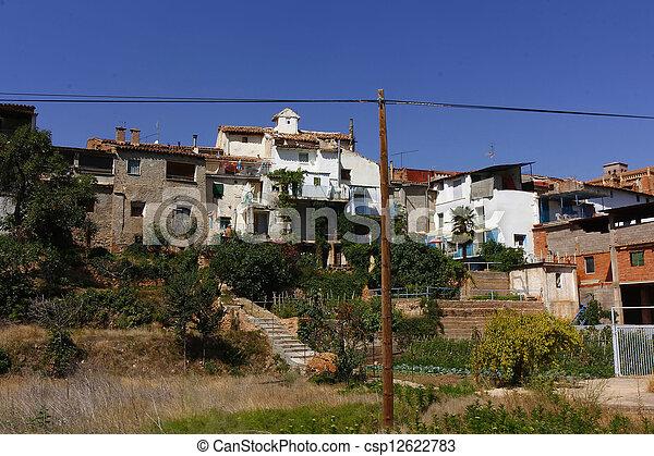 房子, 泥, 水泥, 农场, 村庄, ibdes, 西班牙 - csp12622783