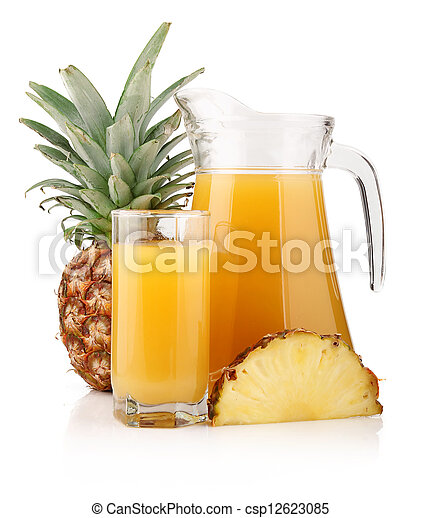 Jug and glass of pineapple juice with fruits isolated - csp12623085
