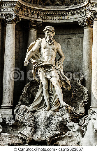 Trevi Fountain, Rome - Italy. Trevi Fountain (Fontana di Trevi) is one of the most famous landmark in Rome. - csp12623867