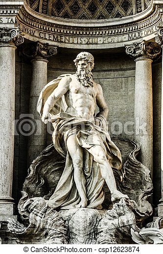 Trevi Fountain, Rome - Italy. Trevi Fountain (Fontana di Trevi) is one of the most famous landmark in Rome. - csp12623874