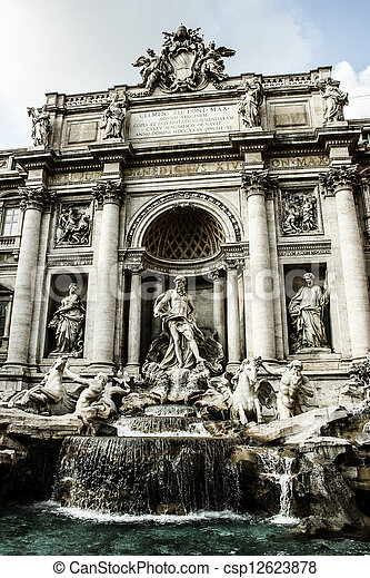 Trevi Fountain, Rome - Italy. Trevi Fountain (Fontana di Trevi) is one of the most famous landmark in Rome. - csp12623878