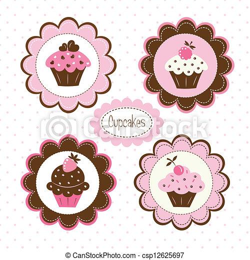 Vector - Conjunto, Cupcakes, Etiquetas - stock de ilustracion ...