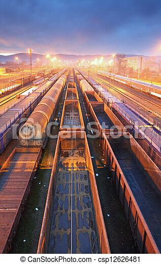 Train Freight transportation platform - Cargo transit - csp12626481