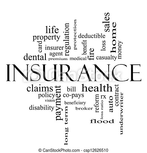 Insurance Word Cloud Concept in all black - csp12626510