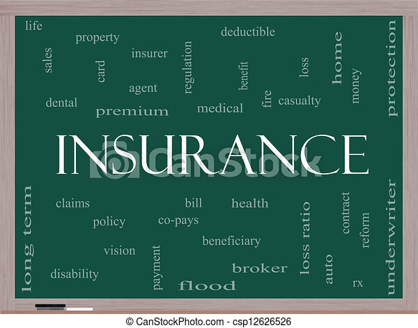 Insurance Word Cloud Concept on a Blackboard - csp12626526