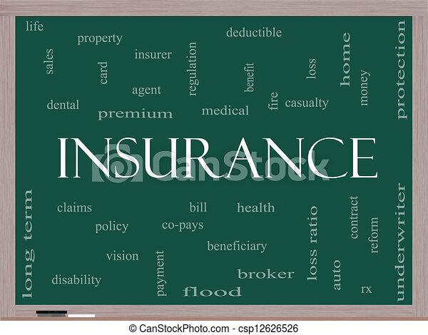 Insurance Word Cloud Concept on a Blackboard - csp12626526