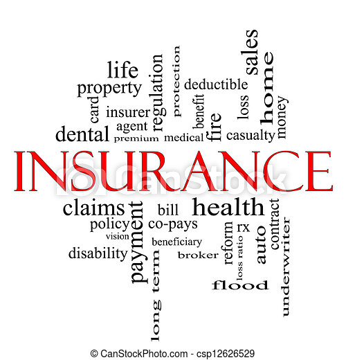 Insurance Word Cloud Concept in red and black - csp12626529