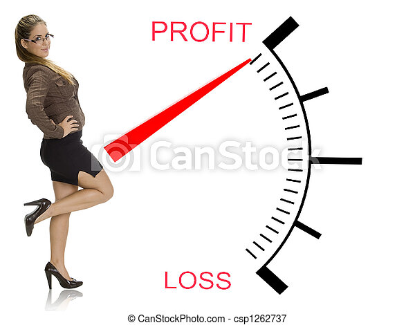 beautiful woman posing near profit loss meter - csp1262737