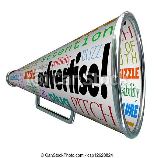 bullhorn megaphone covered with words describing advertising such as ...
