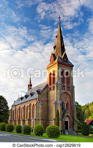 Nice Catholic Church in eastern Europe - Czech republic - csp12629619
