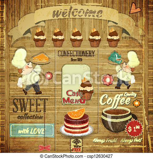Cafe Confectionery Menu Retro Design - csp12630427