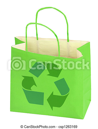 shopping bag with recycle symbol - csp1263169