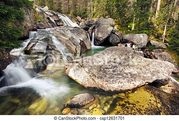 Waterfall in Tatra mountain, Slovakia - Studenovodsky - csp12631701