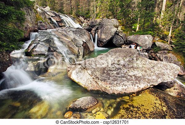 Waterfall in Tatra mountain, Slovakia - Studenovodsky - csp12631701