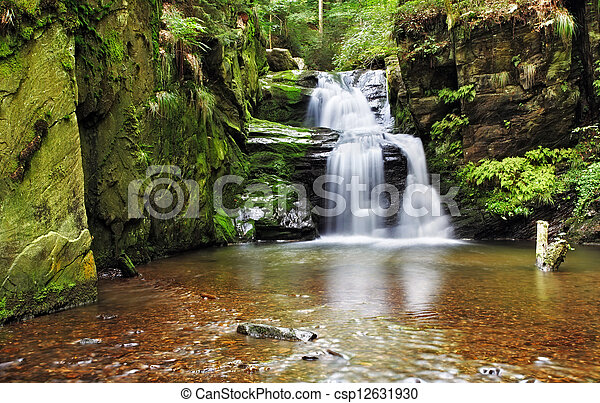 Waterfall in Resov in Moravia, Czech republic - csp12631930