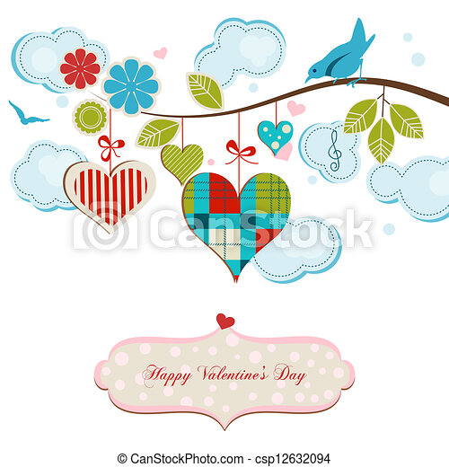 Romantic greeting card, blue birds and hearts - csp12632094