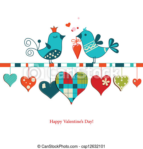 Cute birds sharing love , Valentines day design - csp12632101