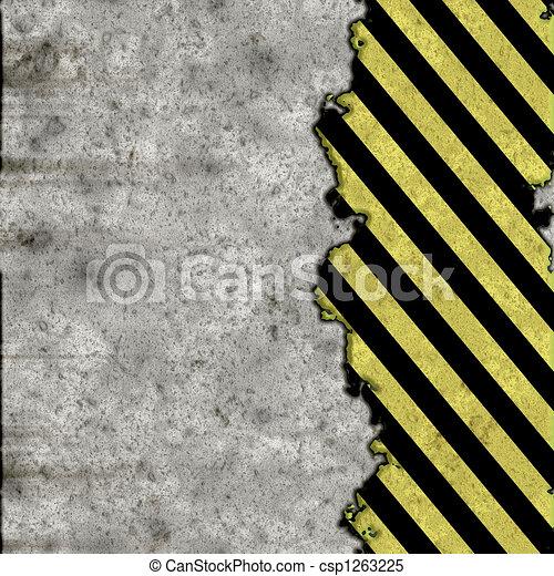 hazard stripes torn wall - csp1263225