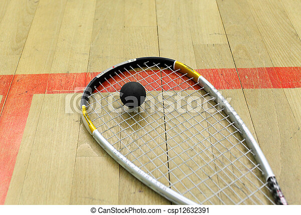 Squash court and racket with ball