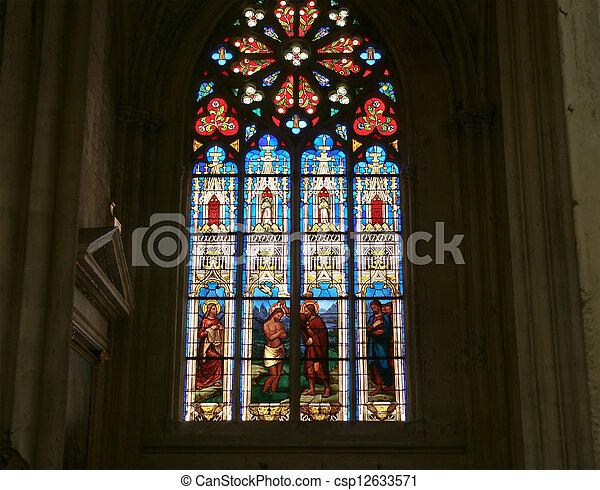 Photo tach verre fen tre gothique cath drale saint for Fenetre gothique