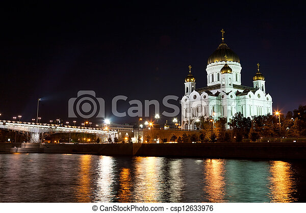 Orthodox church of Christ the Savior at night, Moscow  - csp12633976