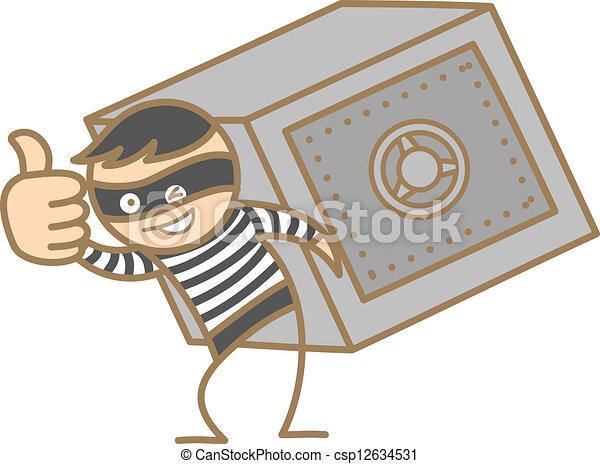 vektoren von kasten einbrecher geld zeichen tragen karikatur csp12634531 suchen sie. Black Bedroom Furniture Sets. Home Design Ideas