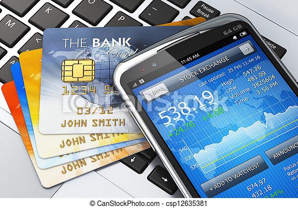 mobil, bankrörelse, begrepp, finans - csp12635381