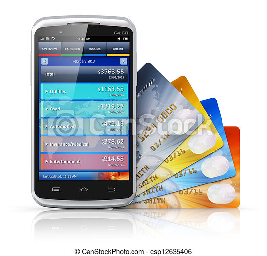 Mobile banking and finance concept - csp12635406