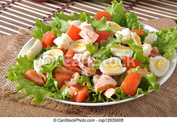 photographies de frais saumon salade salade verte et caille oeufs csp12635608 recherchez. Black Bedroom Furniture Sets. Home Design Ideas