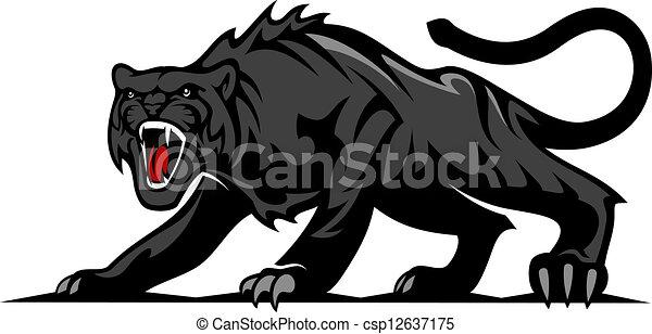 Vectors Illustration Of Danger Black Panther Or Puma For